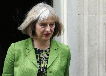 Britain's Home Secretary Theresa May leaves Downing Street in London
