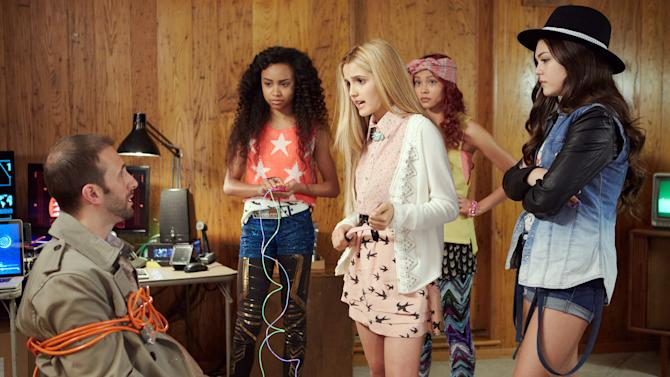"This photo provided by Netflix shows actresses Genneya Walton, from left, Victoria Vida, Ysa Penarejo, and Mika Abdalla, in a scene from ""Project Mc2."" The series about four clever schoolgirls recruited to join a spy organization will be released Aug. 7, 2015, on Netflix. (Netflix via AP)"