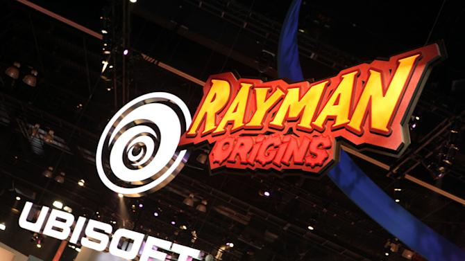 FILE - In this June 8, 2011 file photo released by Ubisoft, a Rayman Origins display is seen at the Ubisoft booth at the Electronic Entertainment Expo (E3) gaming convention  in Los Angeles. (AP Photo/Ubisoft, Casey Rodgers)