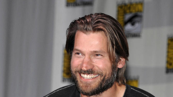 "Actor Nikolaj Coster-Waldau who portrays Jaime Lannister on the Emmy nominated HBO series ""The Game of Thrones"" is shown during a panel at Comic-Con International 2011 in San Diego Thursday, July 21, 2011.   (AP Photo/Denis Poroy)"