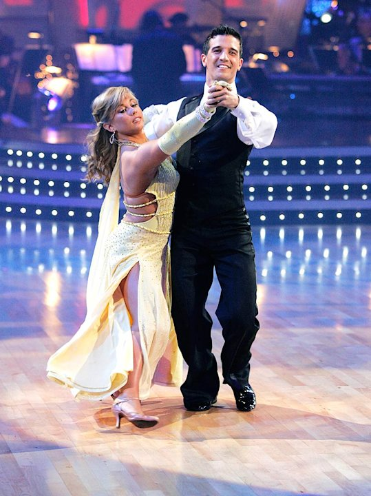 "Shawn Johnson and Mark Ballas perform the Waltz to ""Is It You (I Have Loved)"" by Becky Jane Taylor on ""Dancing with the Stars."""