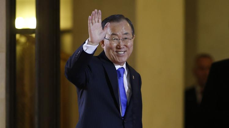 U.N. Secretary General Ban Ki-moon arrives for a dinner with the French President and other dignitaries as part of the Summit for Peace and Security in Africa at the Elysee Palace in Paris