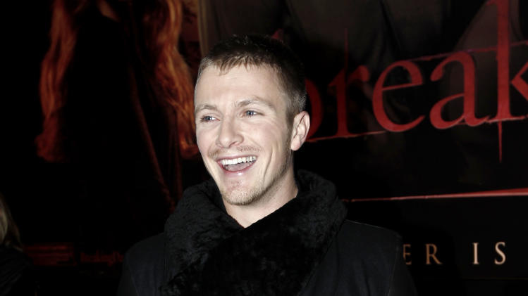 "Charlie Bewley arrives at the world premiere of ""The Twilight Saga: Breaking Dawn - Part 1"" on Monday, Nov. 14, 2011, in Los Angeles. (AP Photo/Matt Sayles)"