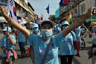 Cambodian demonstrators in Phnom Penh on Monday. Cambodian government spokesman Ek Tha rejects suggestions that campaigners or protesters were at risk