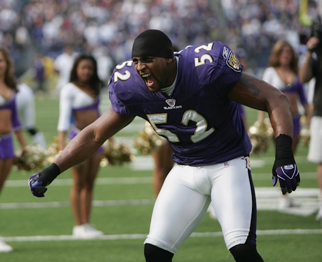 BALTIMORE - NOVEMBER 21: Linebacker Ray Lewis #52 of the Baltimore Ravens looks on before facing the Dallas Cowboys during the game at M&amp;T Bank Stadium on November 21, 2004 in Baltimore, Maryland. The