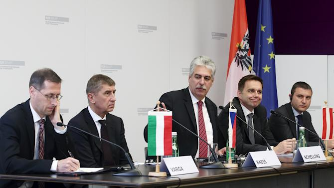 Finance and Economy ministers of Hungary, Czech Republic, Austria, Slovakia and Bulgaria attend a news conference in Vienna