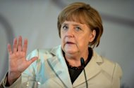 German Chancellor Angela Merkel holds a speech in Berlin during a conference organized by the German Foundation for Family Businesses on June 15. Merkel firmly warned against half-baked responses to Europe's crisis Friday as France sought to dispel any idea that moves were afoot to isolate her days before a fateful Greek vote