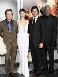 "(L-R) Actors Gary Oldman, Anne Hathaway, Christian Bale and Morgan Freeman attend ""The Dark Knight Rises"" New York Premiere on July 16 in New York City. With a fixation on random violence, Gotham City dysfunction and the death of a star, the ""Batman"" movies have long been consumed with tragedy and terror. Now an unfathomable horror is forever linked to the series"