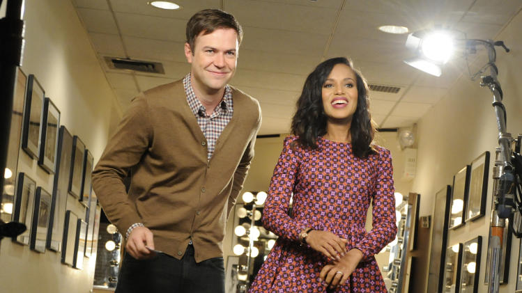 "This Oct. 29, 2013 photo released by NBC shows actress Kerry Washington, right, with cast member Taran Killam during a promotional shoot for ""Saturday Night Live,"" in New York. Washington will host the late night comedy sketch series on Nov. 2. (AP Photo/NBC, Dana Edelson)"