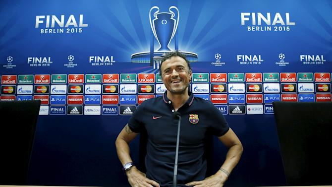 Barcelona's coach Luis Enrique attends a news conference during the media Barcelona Open Day ahead of the Champions League final against Juventus