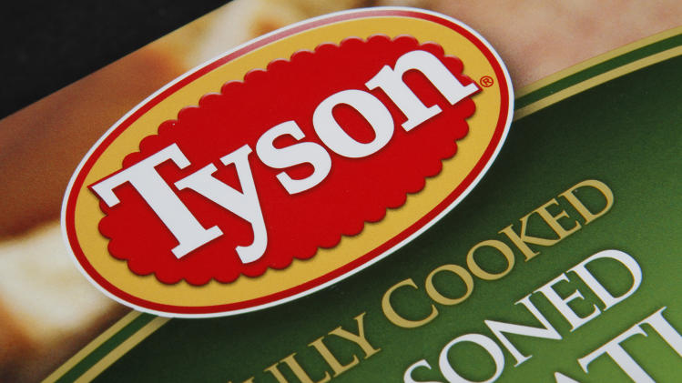 This Nov. 18, 2011 photo, shows a Tyson food product, in Montpelier, Vt. Tyson Foods Inc. said Monday, Nov. 21, 2011, its fiscal fourth quarter profit was half of last year's level, as higher grain costs hurt profit margins even as sales and prices rose. (AP Photo/Toby Talbot)
