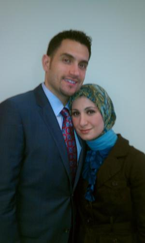Ramy Kurdi, 33, and his wife, Sarah Hekmati, 31, of Lathrup Village, Mich., are shown at the Michigan office of the Council on American-Islamic Relations in Southfield, Mich., on Tuesday, Sept. 25, 2012, where they and officials of the Muslim advocacy group pleaded for Iranian officials to release Hekmati's bro9ther, Amir Hekmati. The Arizona-born ex-Marine was arrested on spying charges in August 2011 while visiting is grandmothers in Iran. He was convicted and sentenced to death, but the sentence was overturned. He remains in prison, and no new trial date has been set. (AP Photo/David N. Goodman)