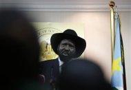South Sudan's President Salva Kiir speaks during a news conference in Juba December 18, 2013. REUTERS/Goran Tomasevic
