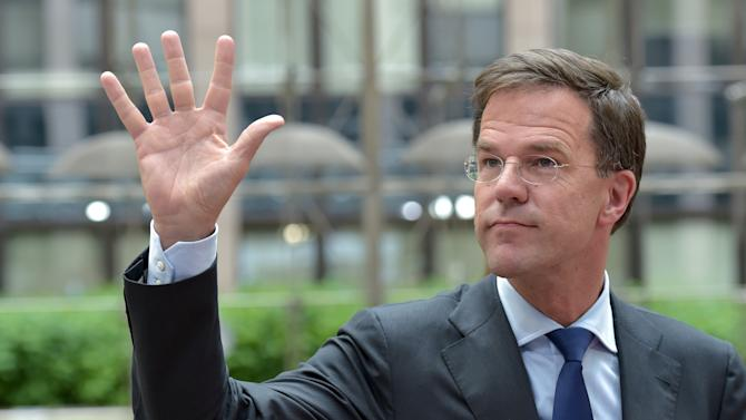 Dutch Prime Minister Rutte arrives at a euro zone EU leaders emergency summit on the situation in Brussels