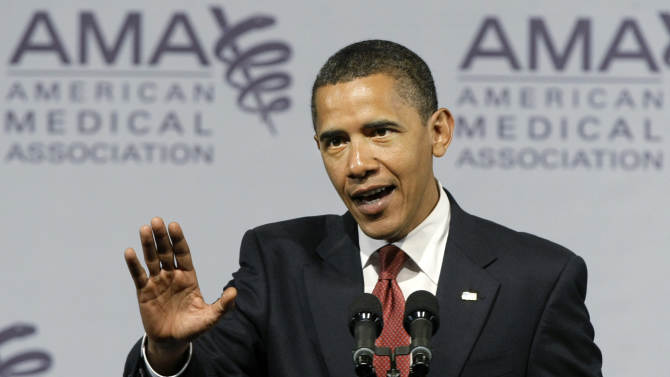 """FILE - In this June 15, 2009 file photo, President Barack Obama speaks at the American Medical Association annual meeting in Chicago. Many consumers who buy their own health insurance could get a cancellation notice this fall because their current policies don't meet basic standards under President Barack Obama's health care law. They'll have to find replacement plans, state regulators say. If you like your health care plan, you'll be able to keep your health care plan, period,"""" the president reassured the American Medical Association. """"No one will take it away, no matter what."""" (AP Photo/Charles Rex Arbogast, File)"""