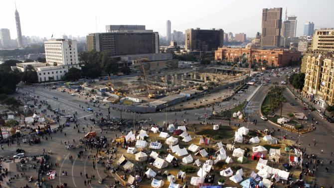 A general view of Tahrir Square in Cairo, Egypt, Monday, Nov. 26, 2012. Thousands of Egyptians on Monday marched into Cairo's Tahrir Square to attend the funeral of Gaber Salah, who was severely injured during clashes with security forces last week and died Sunday night. (AP Photo/Ahmed Abdel Fattah)