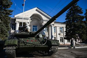 In this Wednesday Nov. 5, 2014 photo, a tank is parked…