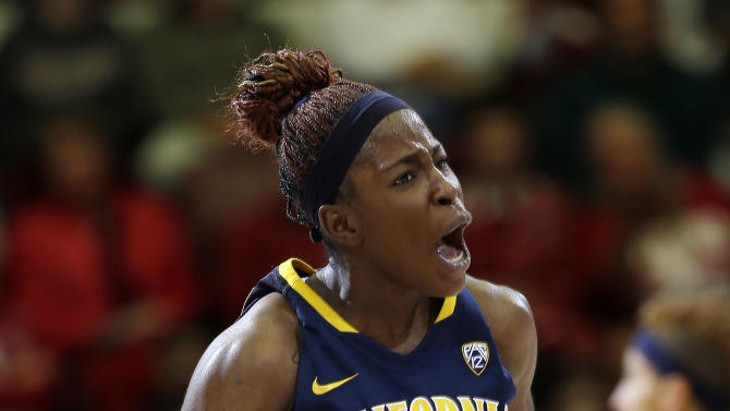 California 's Gennifer Brandon (25) celebrates after scoring against Stanford during the first half of an NCAA college basketball game in Stanford, Calif., Sunday, Jan. 13, 2013. (AP Photo/Marcio Jose Sanchez)