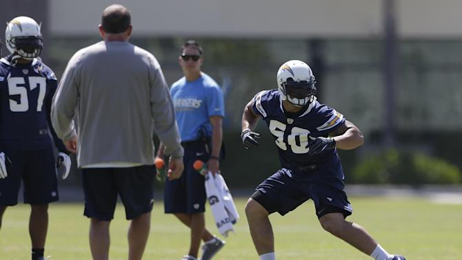 San Diego Chargers rookie linebacker Manti Te'o, right, runs a drill during Chargers training camp Monday, May 20, 2013, in San Diego. (AP Photo/Gregory Bull)
