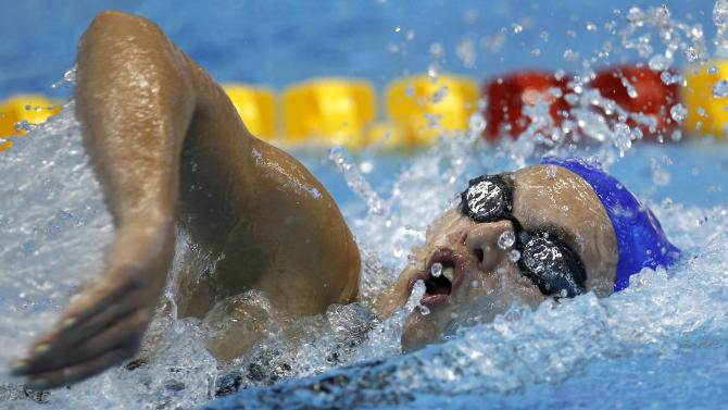 Eleanor Faulkner from Great Britain swims a Women's 400m Freestyle heat at the European Short Course Swimming Championships in Szczecin, Poland, Saturday, Dec. 10, 2011. (AP Photo/Michael Sohn)