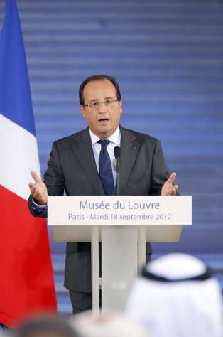 French President Francois Hollande delivers a speech during the official opening ceremony of the new Department of Islamic Arts at the Louvre museum, in Paris, Tuesday, Sept. 18, 2012. The new Louvre department is the largest of its kind in Europe, with 3,000 artifacts on display, gathered from Spain to India and dating back to the seventh century AD. (AP Photo/Pierre Verdy, Pool)