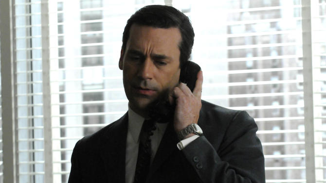 """In this undated publicity image released by AMC, Jon Hamm portrays Don Draper in a scene from the AMC series, """"Mad Men."""" (AP Photo/AMC)"""