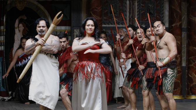 New Zealand's Ngakau Toa Theatre Company perform a traditional ceremonial 'haka' at The Globe Theatre  in London,  Monday, April 23, 2012. On Monday, Shakespeare's birthday, the Globe to Globe Festival, part of the World Shakespeare Festival started, with 37 international companies presenting 37 of Shakespeare's plays in 37 different languages. (AP Photo/Kirsty Wigglesworth)