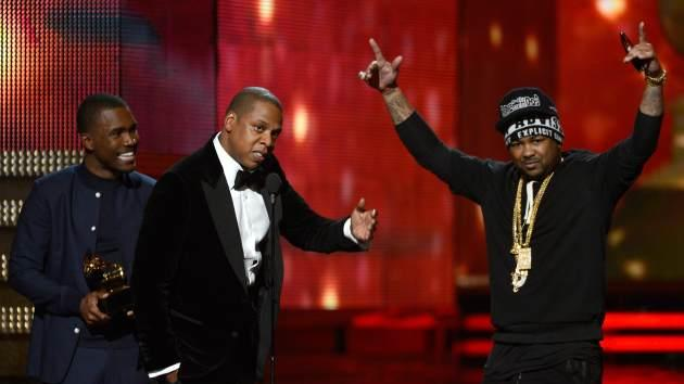 Frank Ocean, Jay-Z and The-Dream accept Best Rap/Sung Collaboration award for 'No Church in the Wild' onstage at the 55th Annual Grammy Awards at Staples Center on February 10, 2013 in Los Angeles -- Getty Images
