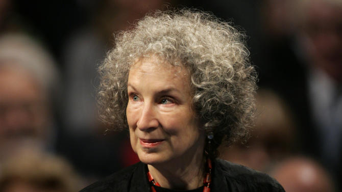 FILE - In this Oct. 24, 2008 file photo, Canadian writer Margaret Atwood arrives for the 2008 Prince of Asturias award ceremony in Oviedo, northern Spain. Atwood, has been named a foreign honorary member of the American Academy of Arts and Letters. Other foreign inductees include Italian author Roberto Calasso and British composer Peter Maxwell Davies. (AP Photo/Daniel Ochoa de Olza, File)