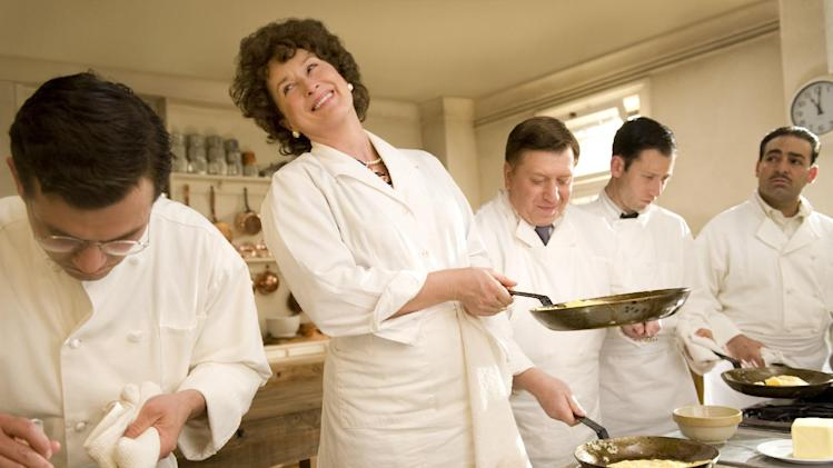"In this film publicity image released by Columbia Pictures, Meryl Streep portrays Julia Child in a scene from, ""Julie & Julia,"" written and directed by Nora Ephron. Publisher Alfred A. Knopf confirmed Tuesday, June 26, 2012, that author and filmmaker Nora Ephron died Tuesday of leukemia in New York. She was 71. The film, starring Streep, Amy Adams and Stanley Tucci was Ephron's last film. (AP Photo/Columbia Pictures/Sony, Jonathan Wenk)"