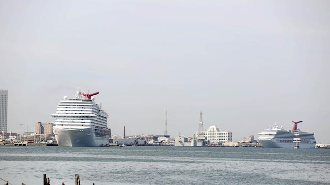 Cruise ships sit in the Houston Port on March 25, 2014 in Galveston, Texas