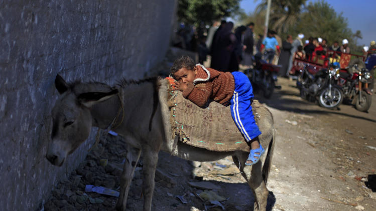 An Egyptian boy rests on a donkey outside a polling station as he waits for his father to cast his vote during the second round of a referendum on a disputed constitution drafted by Islamist supporters of President Mohammed Morsi in Fayoum, about 100 kilometers (62 miles) south of Cairo, Egypt, Saturday, Dec. 22, 2012.(AP Photo/Khalil Hamra)
