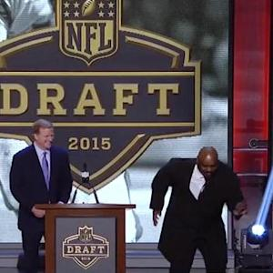Ickey Woods does the 'Ickey Shuffle' at 2015 NFL Draft