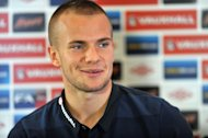 Steven Gerrard believes Tom Cleverley, pictured, has a bright future playing behind the striker