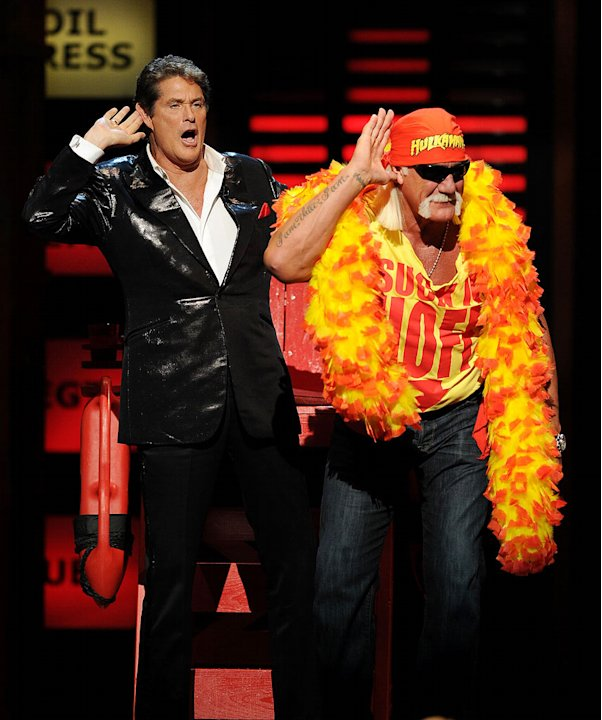 David Hasselhoff (L) and Hulk Hogan onstage during the &quot;Comedy Central Roast Of David Hasselhoff&quot; held at Sony Pictures Studios on August 1, 2010 in Culver City, California. 