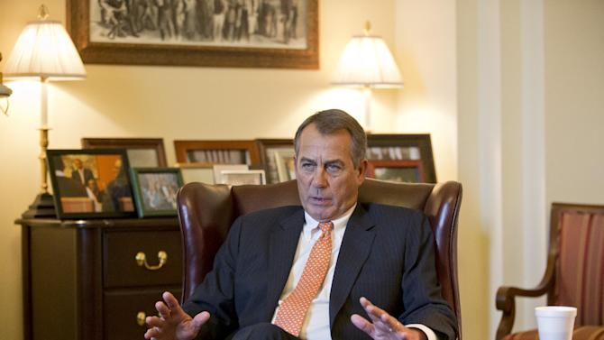 In this Feb. 13, 2013, photo House Speaker John Boehner speaks during an interview with The Associated Press at his Capitol office, in Washington, Wednesday, Feb. 13, 2013. Get ready for two weeks of intensifying warnings about how crucial government services are about to go away _ including many threats that could eventually prove true. President Barack Obama and congressional Republicans made no progress last week in heading off $85 billion in budget-wide cuts that automatically start taking effect March 1. (AP Photo/J. Scott Applewhite, file)