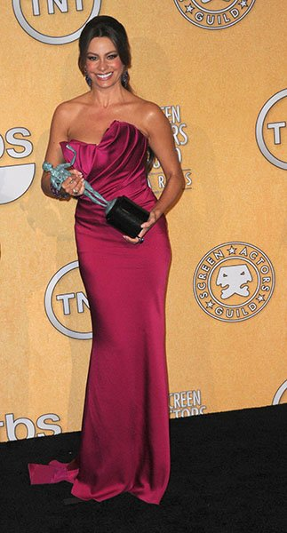 Holding her award at the 2012 SAG Awards this January
