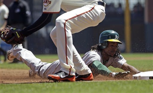 Cowgill's collision powers A's past Giants, 6-2