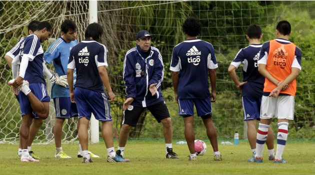 Paraguay's national  soccer team manager Gerardo Pelusso attends a training session in Ypane