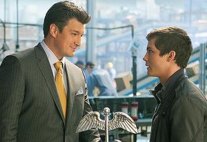 Nathan Fillion and Logan Lerman  | Photo Credits: Murray Close/20th Century Fox