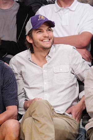 Ashton Kutcher is spotted at a basketball game between the Oklahoma City Thunder and the Los Angeles Lakers at Staples Center in Los Angeles on April 22, 2012 -- Getty Premium