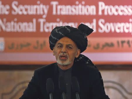 Afghanistan's President Ashraf Ghani speaks during a event in Kabul