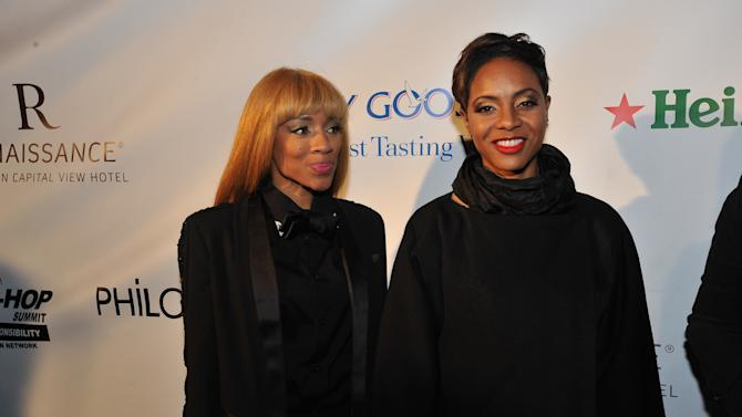 Lil Mama, left, and MC Lyte are seen at the Hip-Hop Inaugural Ball on Sunday, Jan. 20, 2013 in Washington. (Photo by Larry French/Invision/AP)