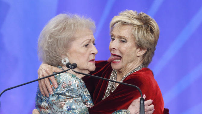 Betty White and Cloris Leachman onstage at the 24th Annual GLAAD Media Awards at the JW Marriott on Saturday, April 20, 2013 in Los Angeles. (Photo by Todd Williamson/Invision/AP)