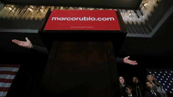 Republican U.S. presidential candidate Marco Rubio speaks to supporters at his 2016 New Hampshire presidential primary night rally in Manchester