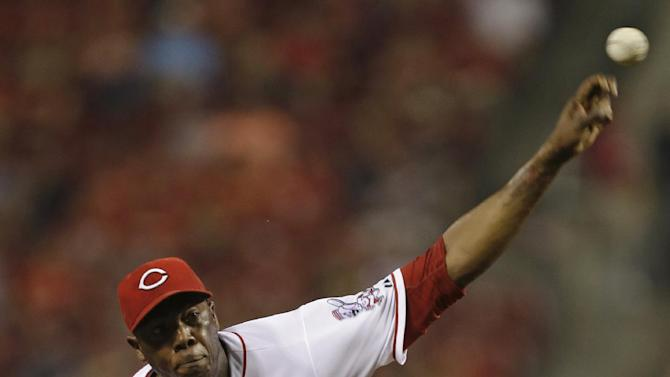 Cincinnati Reds relief pitcher Aroldis Chapman throws against the Pittsburgh Pirates in the ninth inning of a baseball game, Monday, June 17, 2013, in Cincinnati. Chapman earned his 18th save as Cincinnati won 4-1. (AP Photo/Al Behrman)