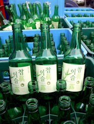 Boxes of empty soju bottles made by Jinro