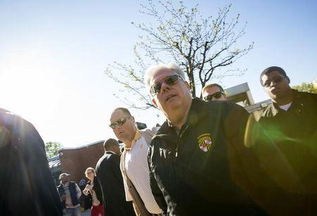 Maryland governor Larry Hogan speaks during a press conference in Baltimore Maryland