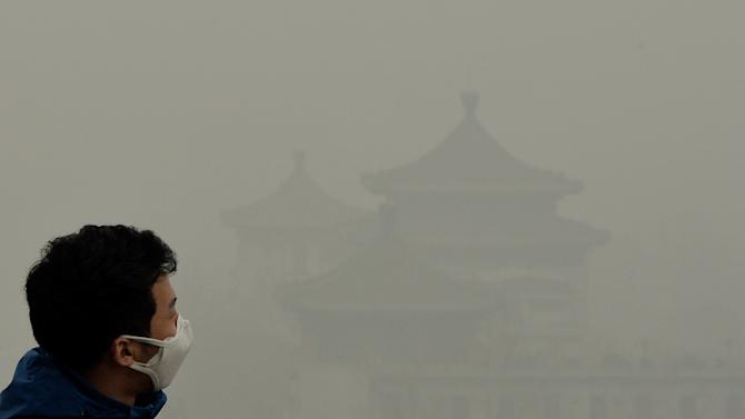 A tourist looks at the Forbidden City as heavy air pollution continues to shroud Beijing, on February 26, 2014