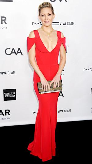 Kate Hudson Flaunts Cleavage in Plunging Red Cutout Dress